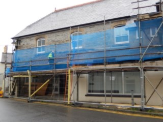 Scafodling is put up around Cawdor Hall.