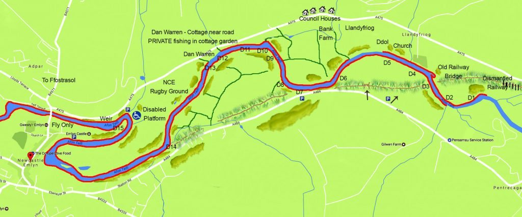 map of the Teifi Trout Association water