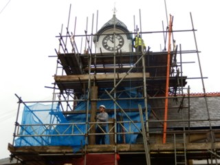 More scaffolding on the clock tower as essential structural repair is done.